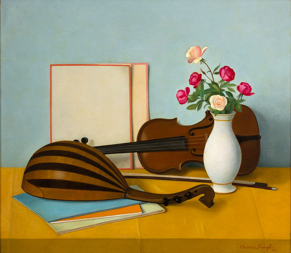 Antonio Donghi - Still life with flowers, mandolin and violin, 1940